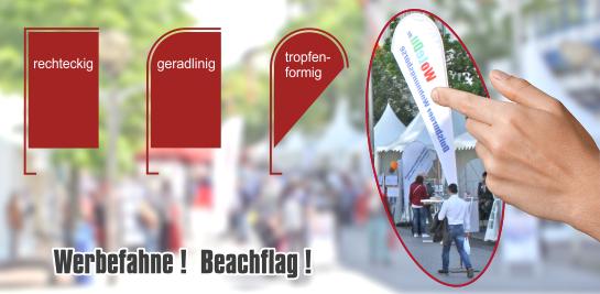Beachbanner, Werbefahnen, Beachflags flyerole.de
